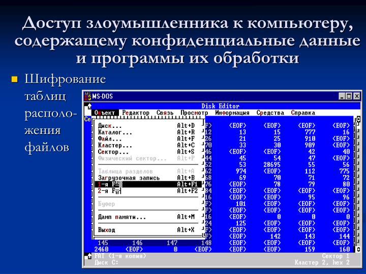 Доступ злоумышленника к компьютеру, содержащему конфиденциальные данные и программы их обработки