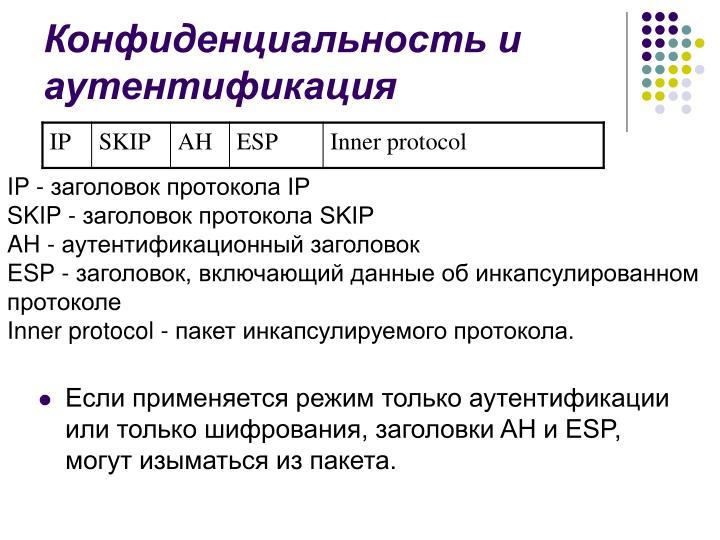 Конфиденциальность и аутентификация
