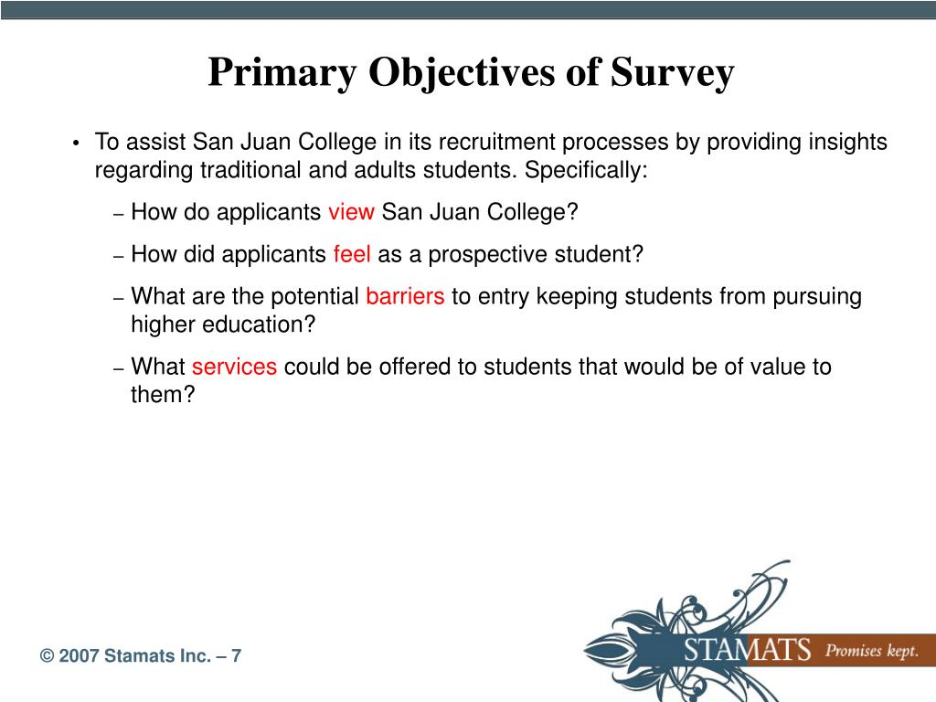 Primary Objectives of Survey