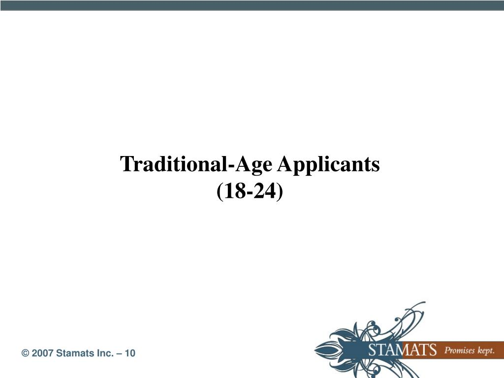 Traditional-Age Applicants