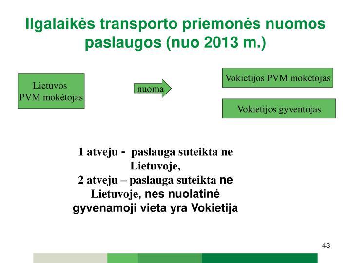 Ilgalaikės transporto priemonės nuomos paslaugos (nuo 2013 m.)