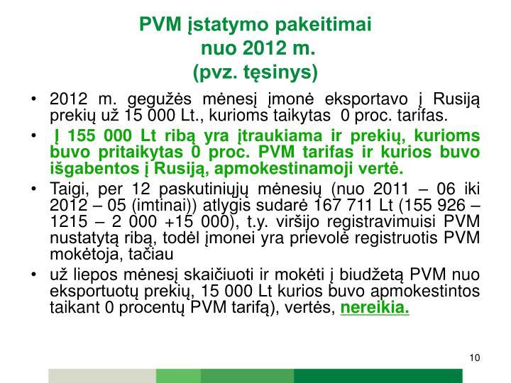 PVM įstatymo pakeitimai