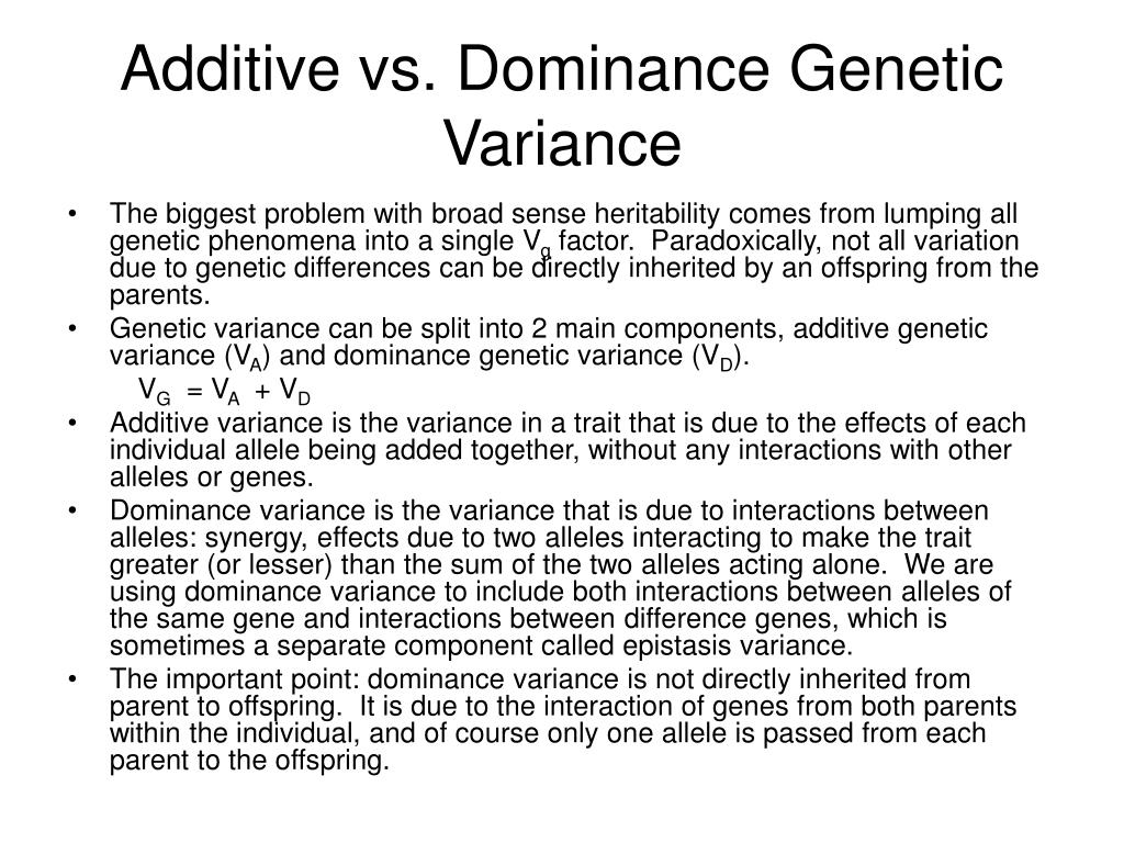 Additive vs. Dominance Genetic Variance