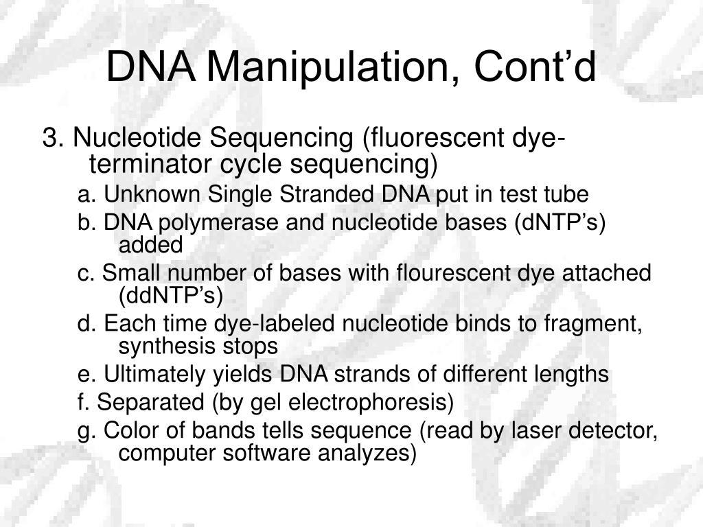 DNA Manipulation, Cont'd