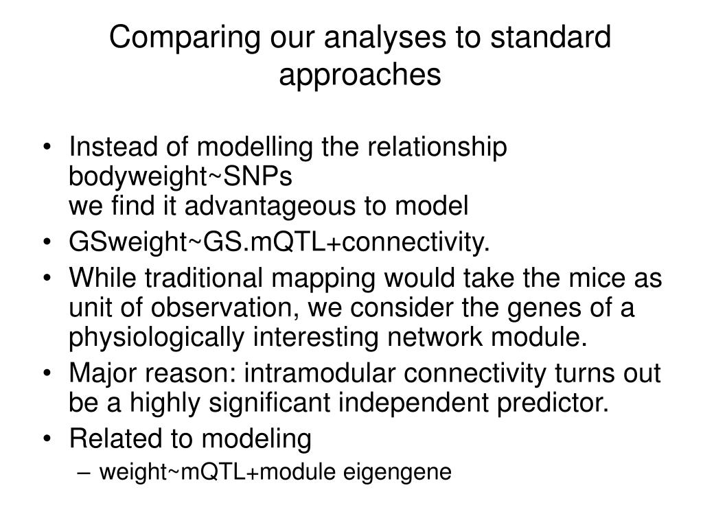 Comparing our analyses to standard approaches
