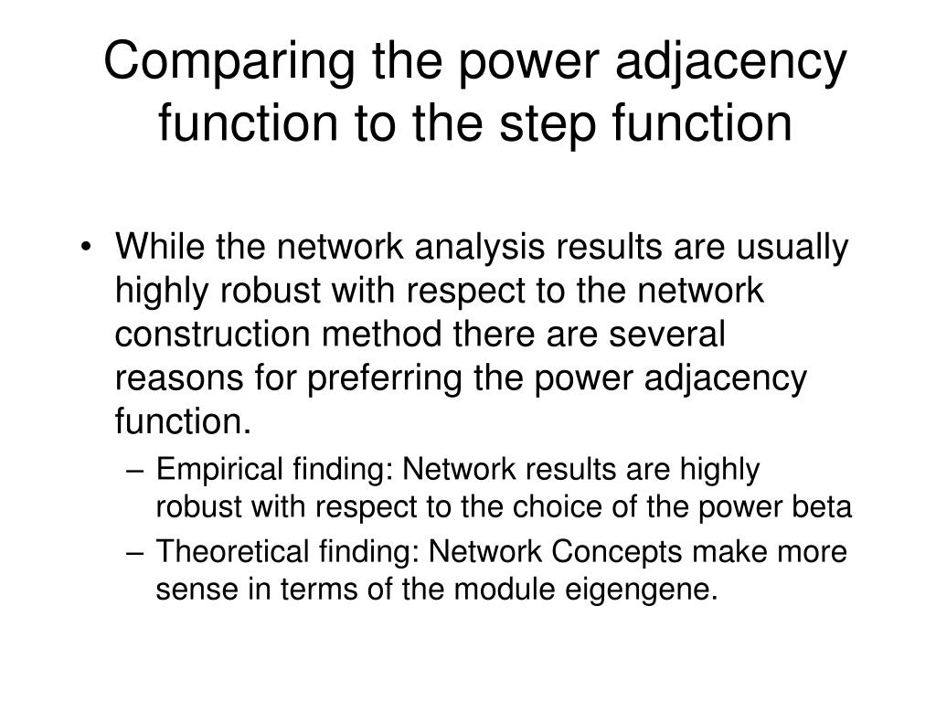 Comparing the power adjacency function to the step function