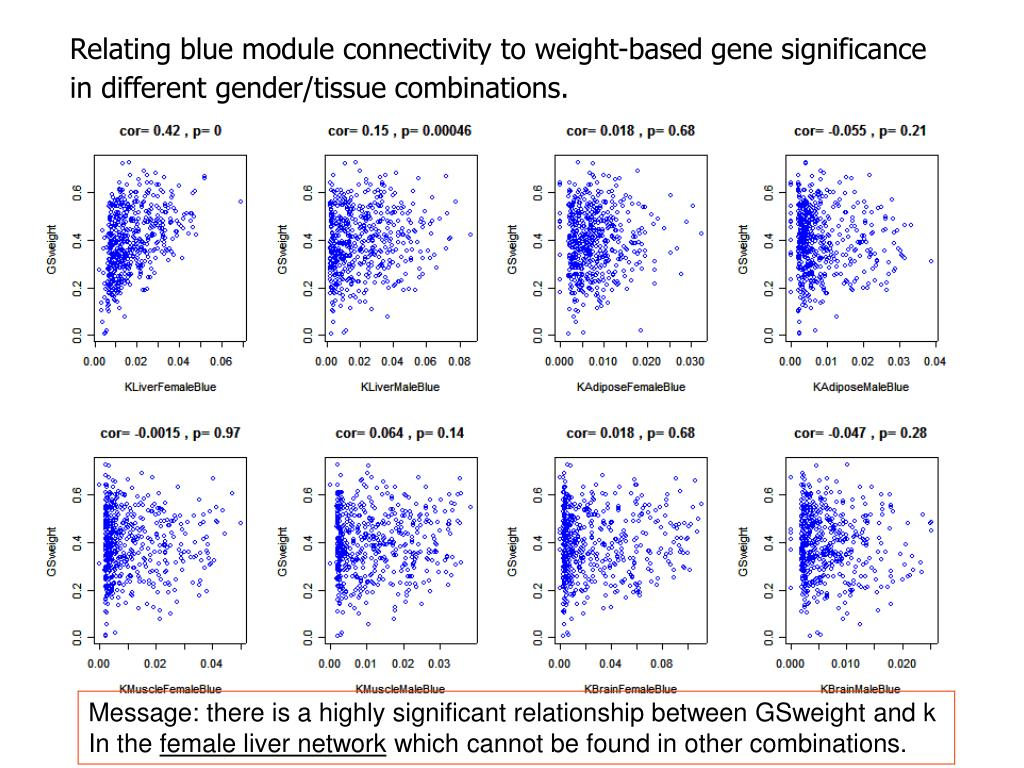 Relating blue module connectivity to weight-based gene significance