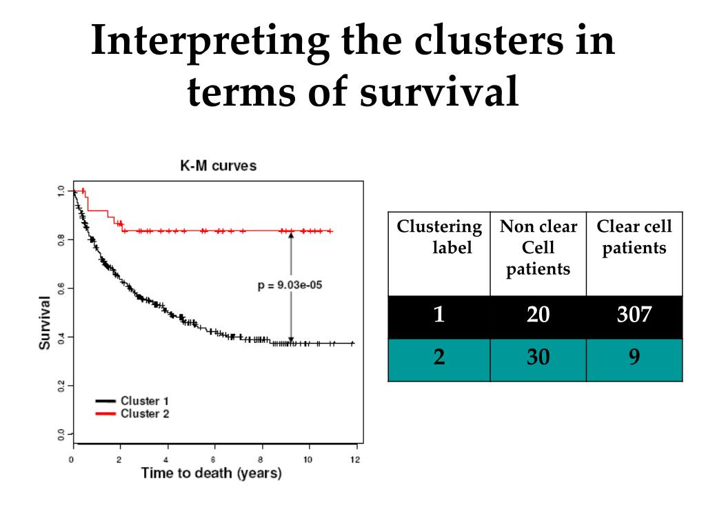 Interpreting the clusters in terms of survival