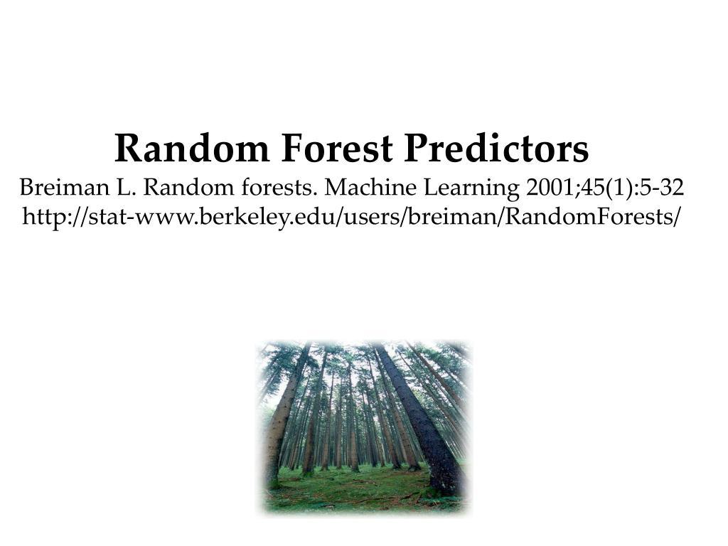 Random Forest Predictors
