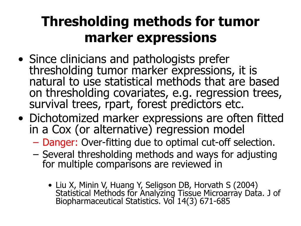 Thresholding methods for tumor marker expressions