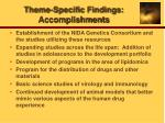 theme specific findings accomplishments