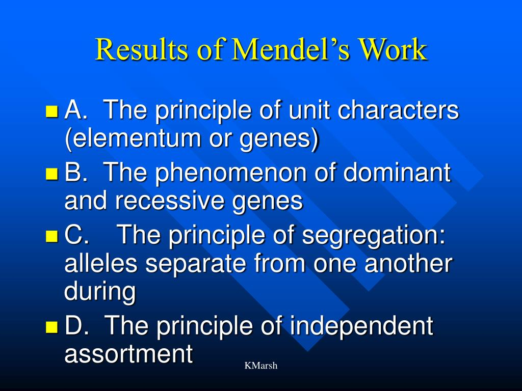 Results of Mendel's Work