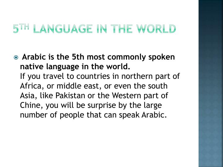 5 th language in the world