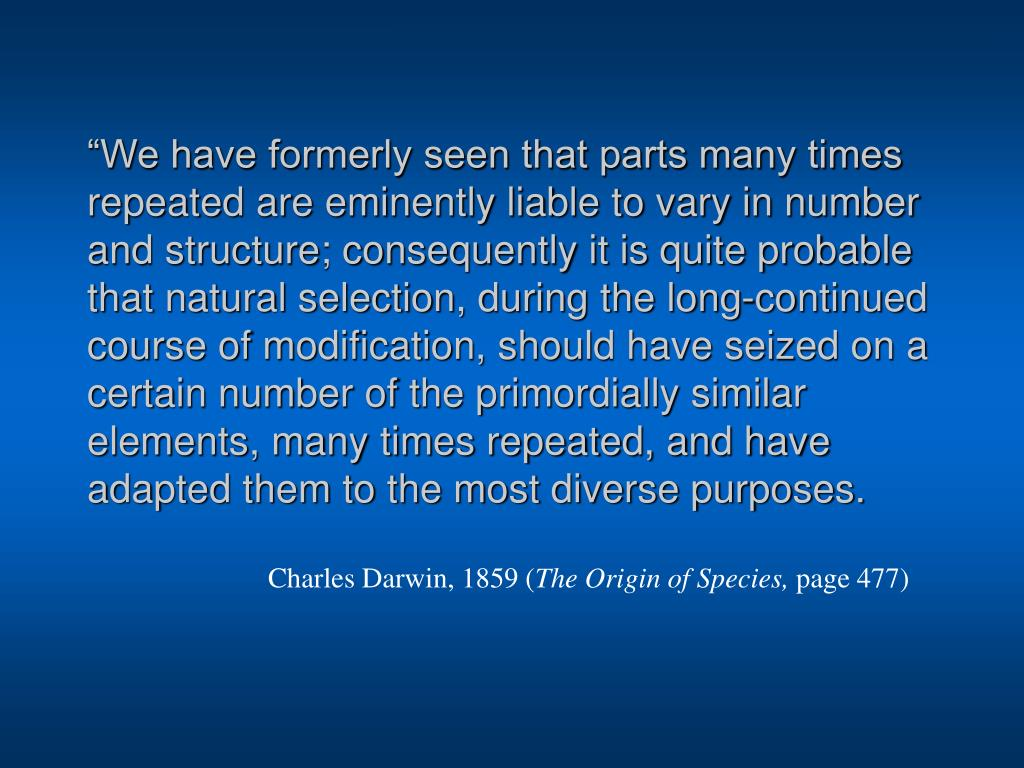 """""""We have formerly seen that parts many times repeated are eminently liable to vary in number and structure; consequently it is quite probable that natural selection, during the long-continued course of modification, should have seized on a certain number of the primordially similar elements, many times repeated, and have adapted them to the most diverse purposes."""