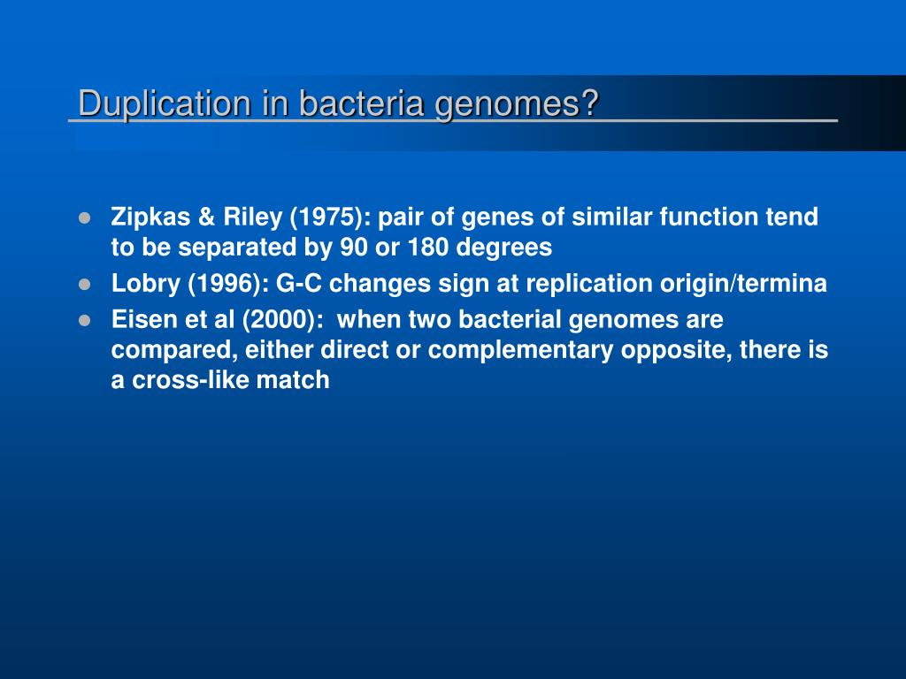 Duplication in bacteria genomes?