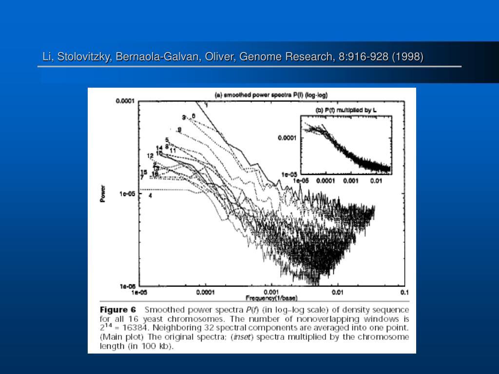 Li, Stolovitzky, Bernaola-Galvan, Oliver, Genome Research, 8:916-928 (1998)
