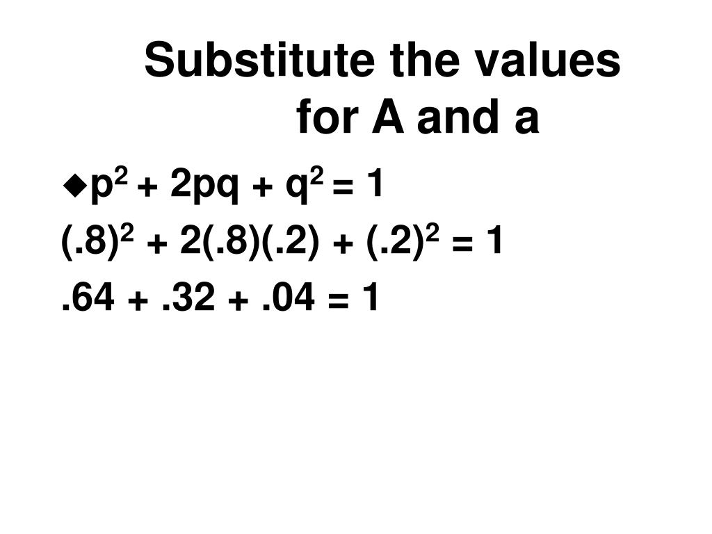 Substitute the values for A and a