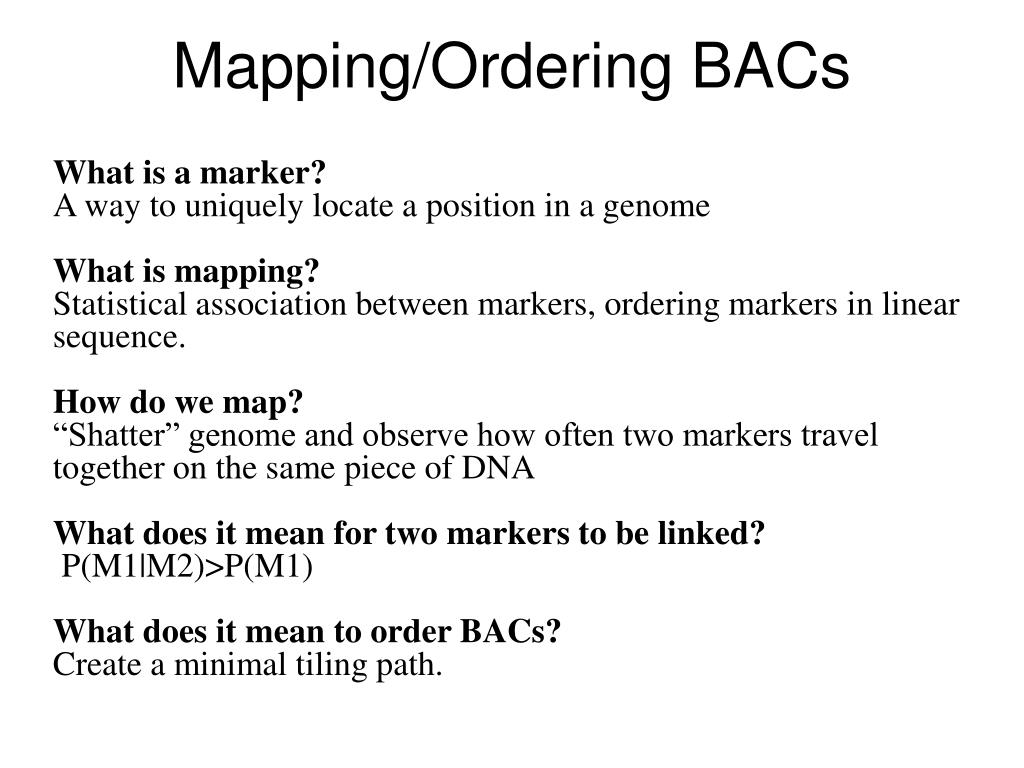 Mapping/Ordering BACs