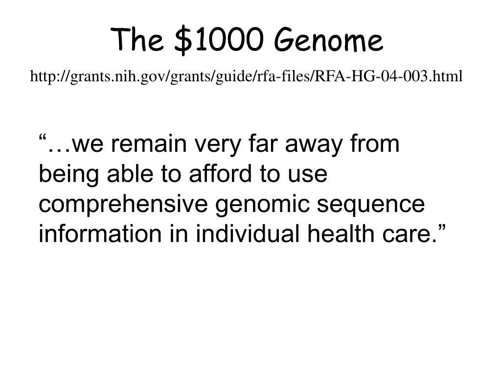 The $1000 Genome