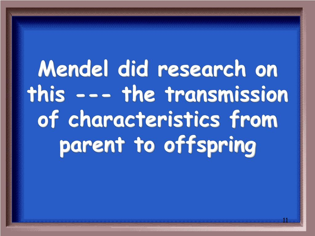 Mendel did research on this --- the transmission of characteristics from parent to offspring