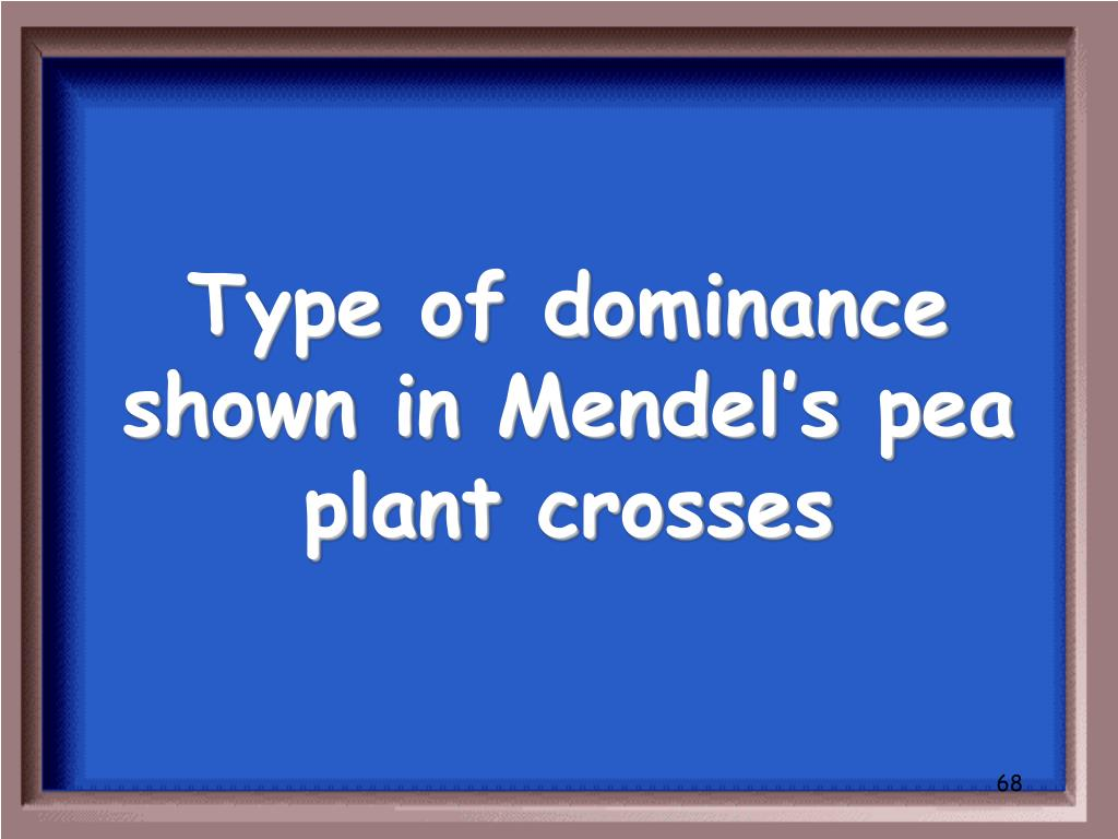Type of dominance shown in Mendel's pea plant crosses