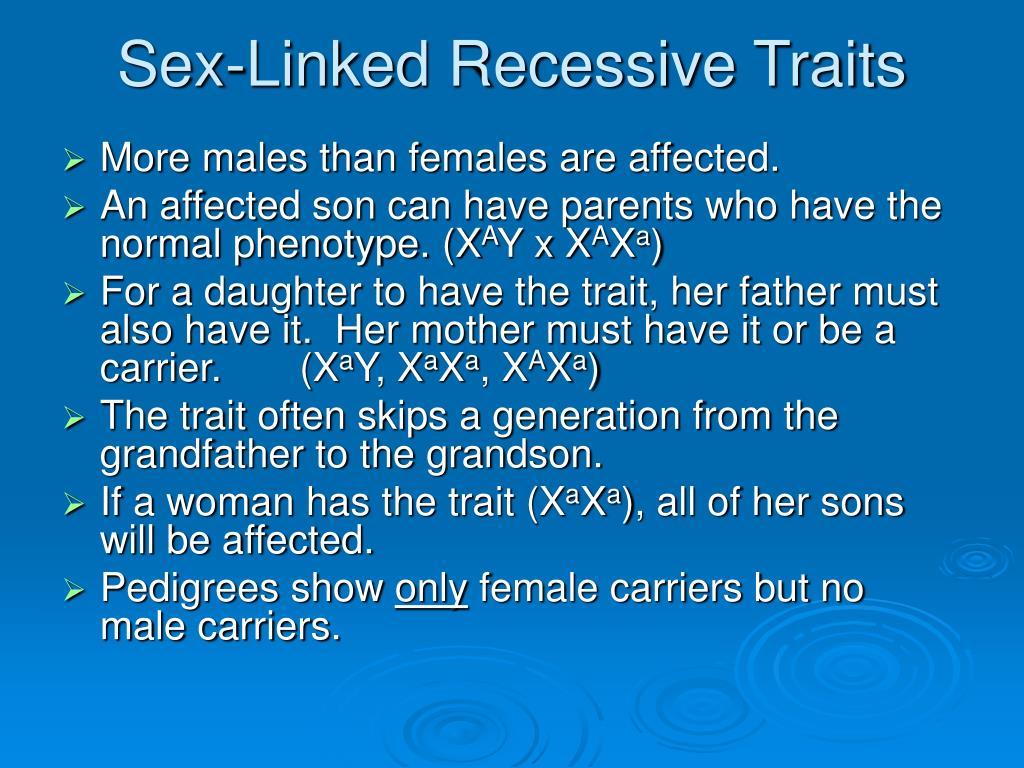 Sex Linked Recessive Traits 63