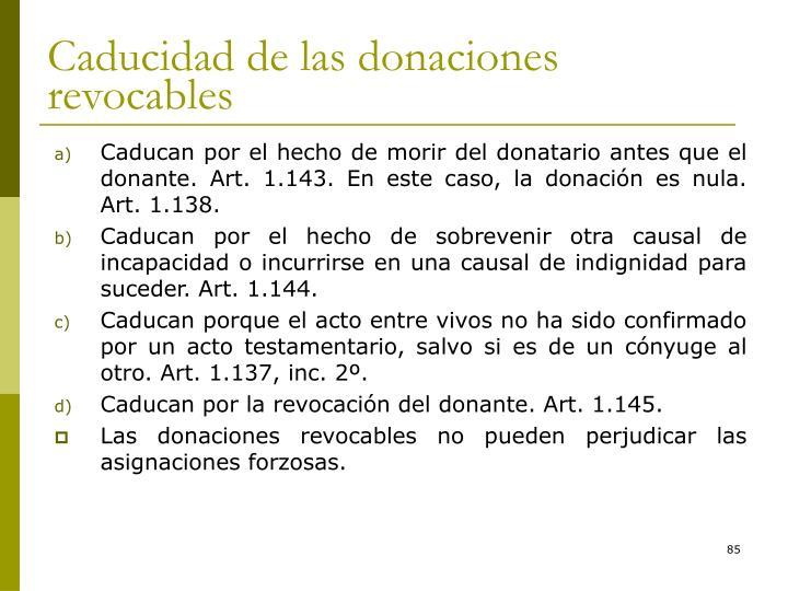 Caducidad de las donaciones revocables