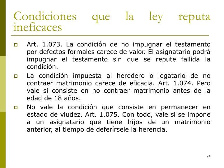 Condiciones que la ley reputa ineficaces