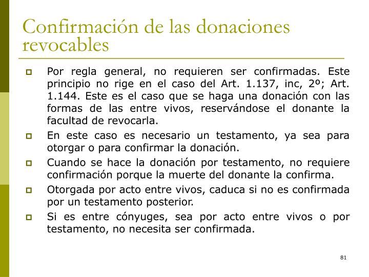 Confirmación de las donaciones revocables