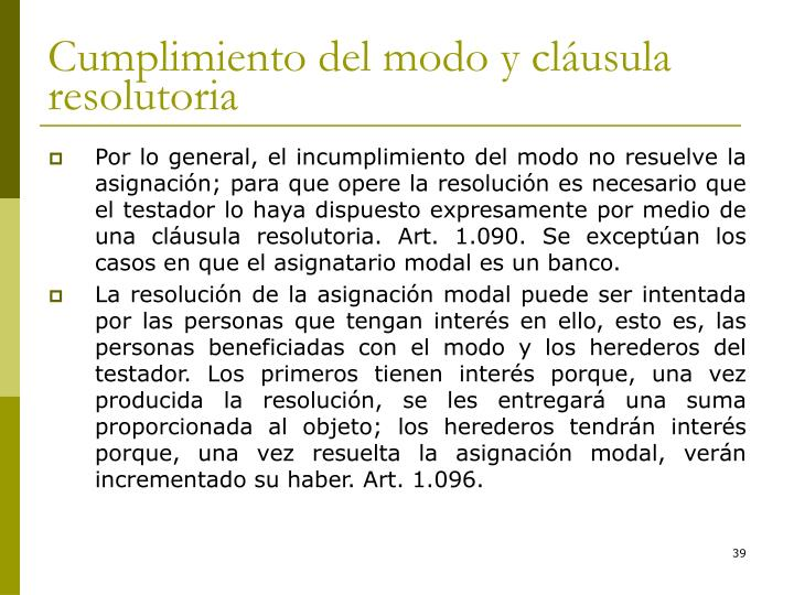 Cumplimiento del modo y cláusula resolutoria