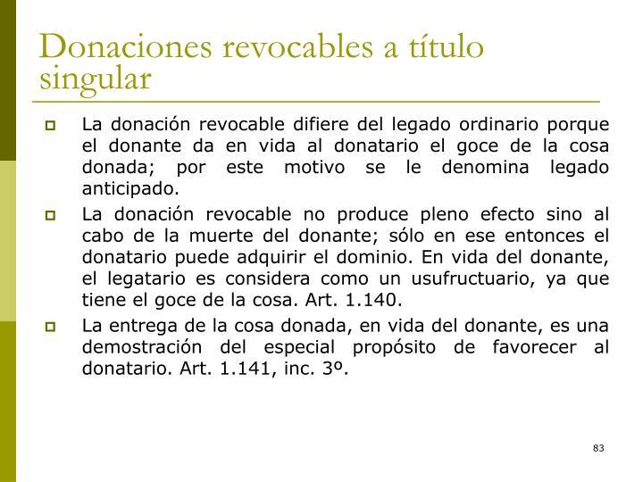 Donaciones revocables a título singular