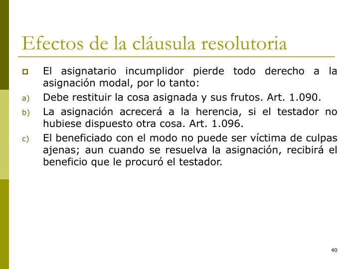 Efectos de la cláusula resolutoria