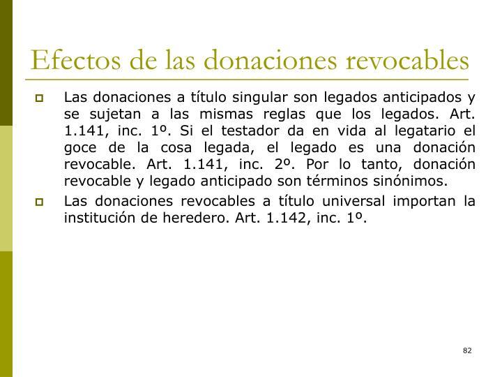 Efectos de las donaciones revocables