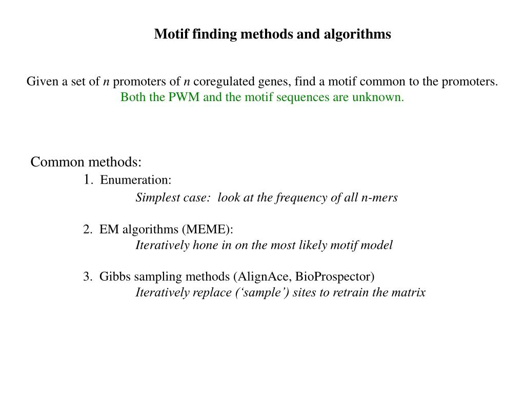 Motif finding methods and algorithms