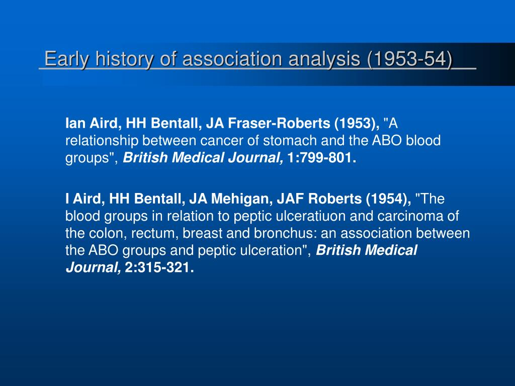 Early history of association analysis (1953-54)