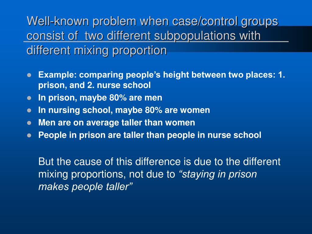 Well-known problem when case/control groups  consist of  two different subpopulations with different mixing proportion