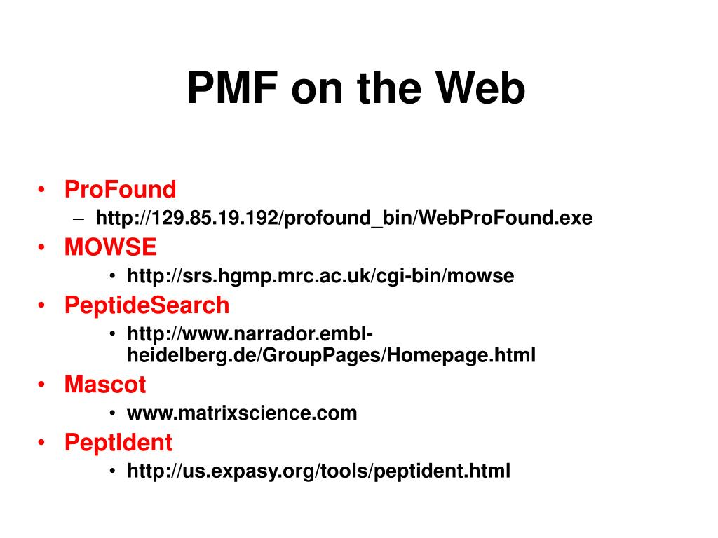 PMF on the Web