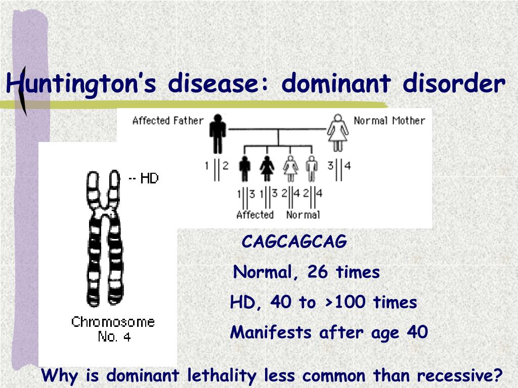 Huntington's disease: dominant disorder