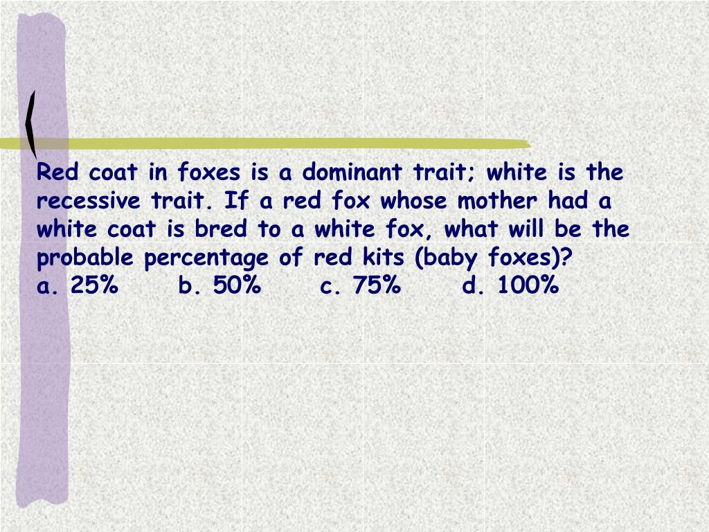 Red coat in foxes is a dominant trait; white is the