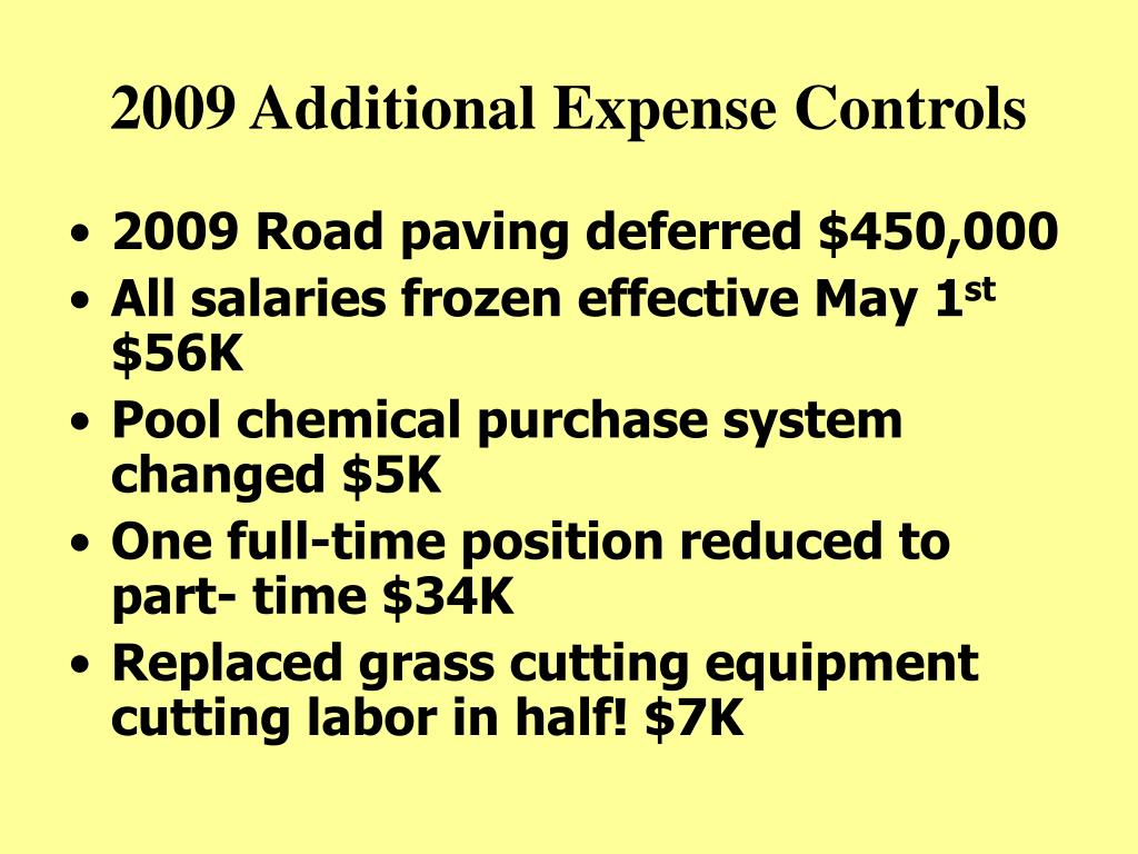 2009 Additional Expense Controls