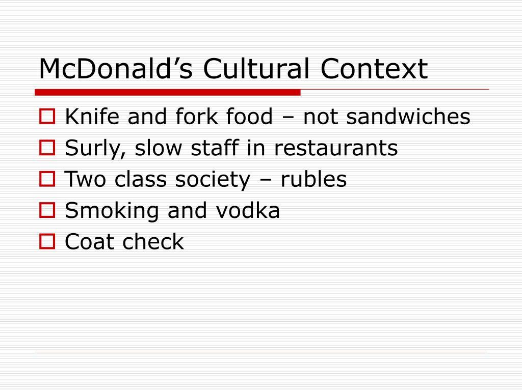 McDonald's Cultural Context