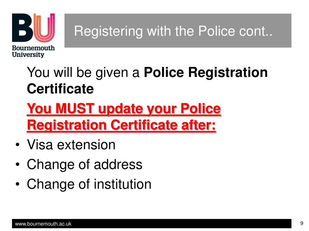 Registering with the Police cont..