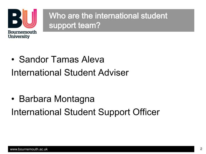 Who are the international student support team