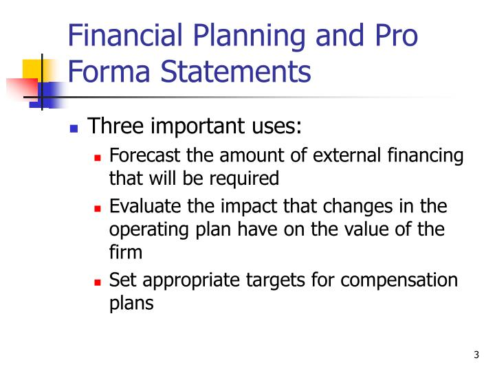 lecture 3 financial forecasting The pro forma financial statements in the financial plan will include forecasts for a number of items the cash budget will have forecasts of cash flows to show that cash balances won't go negative the financial plan will indicate if there will be a need to raise money in.