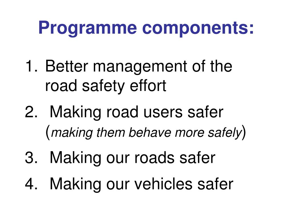 Programme components:
