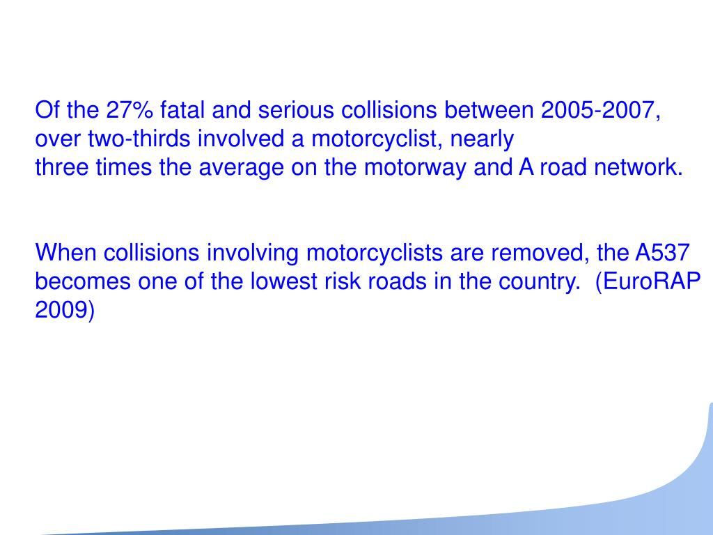 Of the 27% fatal and serious collisions between 2005-2007, over two-thirds involved a motorcyclist, nearly