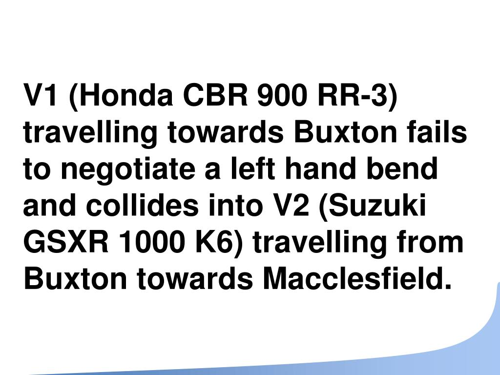 V1 (Honda CBR 900 RR-3) travelling towards Buxton fails to negotiate a left hand bend and collides into V2 (Suzuki GSXR 1000 K6) travelling from Buxton towards Macclesfield.