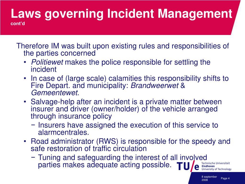 Laws governing Incident Management