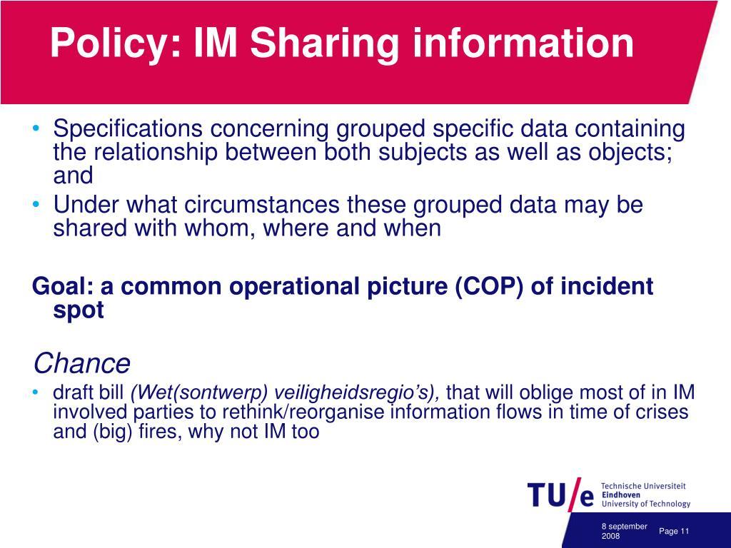 Policy: IM Sharing information