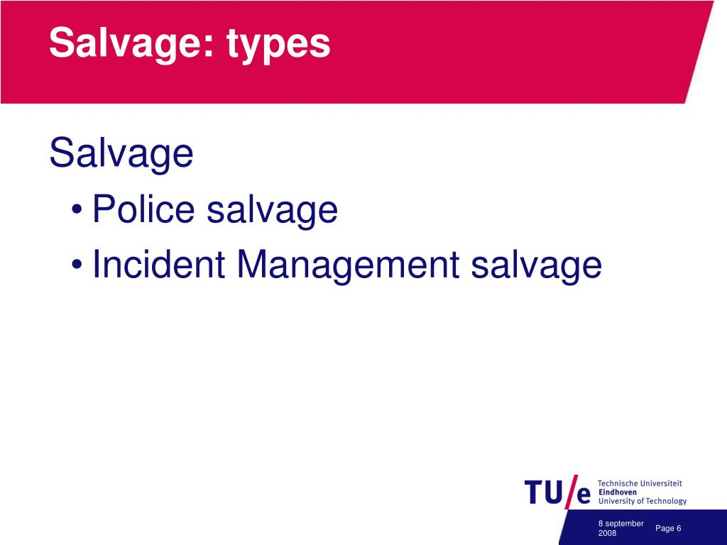 Salvage: types